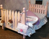 """Country Shabby Chic Bed for 8 to 12"""" doll 1:6 scale and bedding"""
