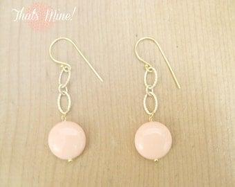 Peach Drop earring. Peach earrings with Gold link chain
