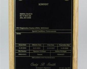 Amateur Radio License HAM Plaque - Oak