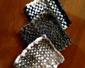 Set of three handwoven, custom potholders made from hand-cut loops