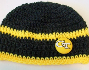Georgia Tech Yellow Jackets Black and Gold Hand Crocheted Baby and Childrens Beanie Hat Great Photo Prop 5 Sizes Available