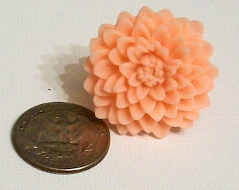 Light Peach Apricot Chrysanthemum Chrissy Flower Fashion Ring Adjustable Band