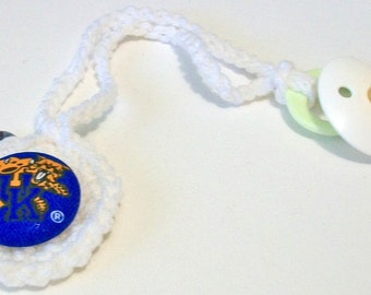 Fun Hand Crocheted Kentucky Wildcats Inspired Blue and White Round Button Pacifier Clip
