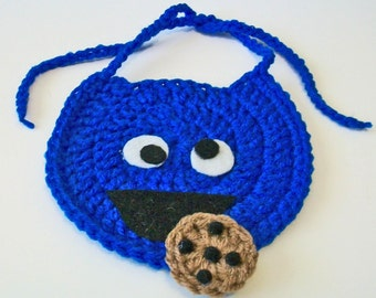 So Cute Hand Crocheted Sesame Street Cookie Monster Inspired Baby Bib Great Photo Prop