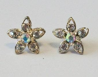 Elegant Clear Rhinestone Flower Shaped Pierced Earrings