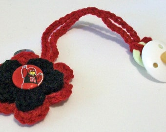 Fun Hand Crocheted Flower Shaped South Carolina Gamecocks Inspired Button Pacifier Clip