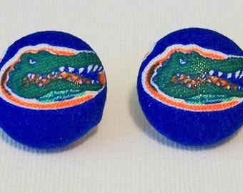 Fun Blue Florida Gators Inspired Fabric Button Pierced Earrings