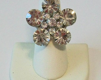Stunning Clear Rhinestone Flower Ring Tons of Sparkle Fashion Ring Adjustable Band