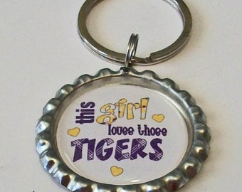 Purple and Gold This Girl Loves Those Tigers Metal Flattened Bottlecap Keychain