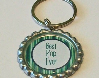 Blue and Green Stripe Best Pop Ever Grandfather Metal Flattened Bottlecap Keychain Great Gift