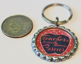 Red Apple Teachers Touch Lives Forever Metal Flattened Bottlecap Keychain Great Gift