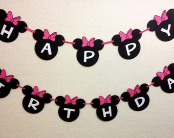Minnie Mouse Birthday Decorations Banner - Happy Birthday with your child's age