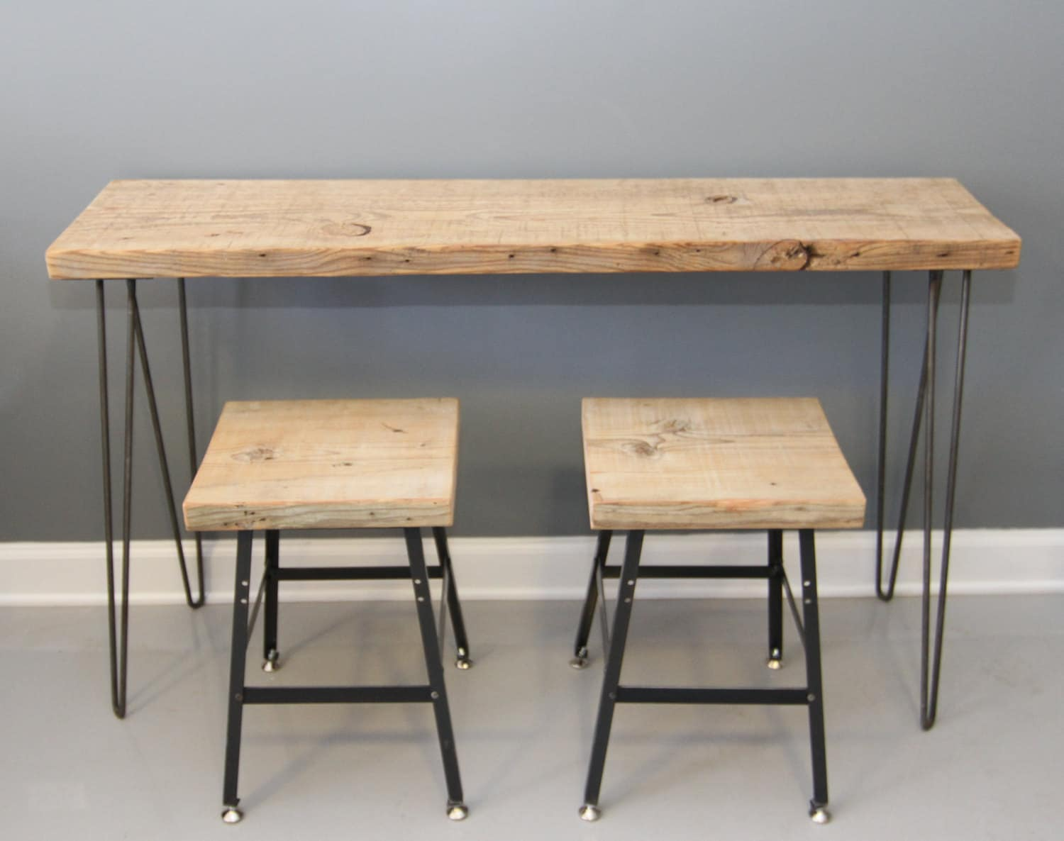 Small urban space desk with 2 bar stools chairs by dendroco - Small urban spaces image ...