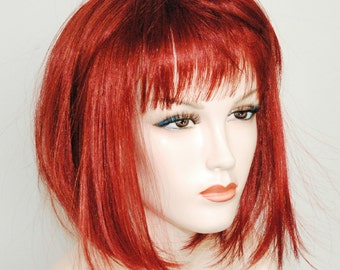 Spicy cinnamon red / straight bop style wig