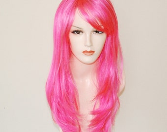 long layered hot pink wig