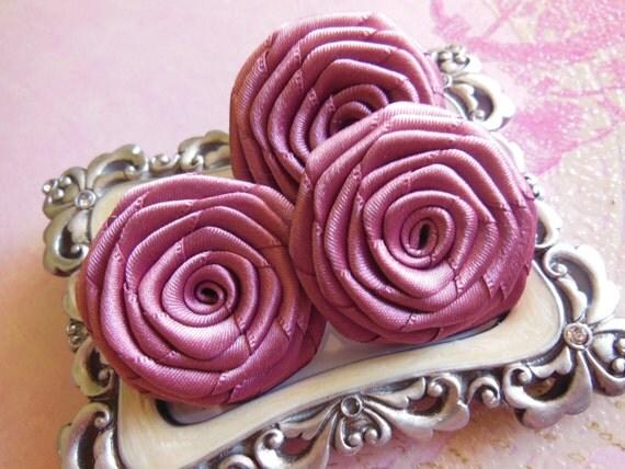 3 Pk Handmade Satin Roses In Brilliant Mauve 1 5 1 75