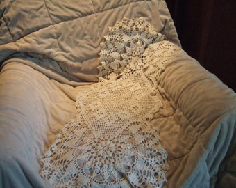 White Hand Crocheted dresser scarf