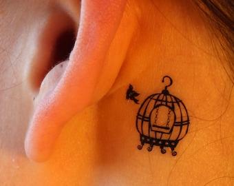 Bird and Birdcage Temporary Tattoo