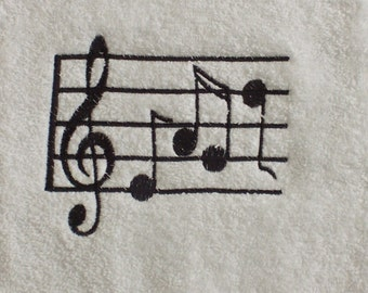 Hand Towel, embroidered, musical notes, bathroom decor, bath hand towels, bath decor, bathroom decorations, music,