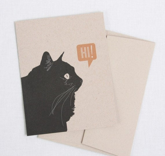 Black Kitty Says Hi // Blank Note Card, 3 Color Options