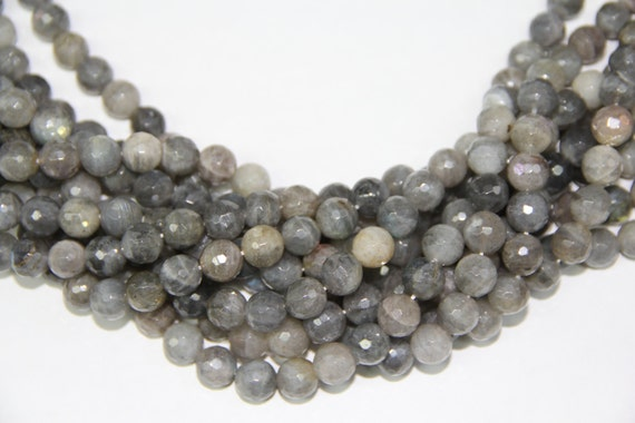 "Labradorite 10mm faceted round beads 16"" length strand"