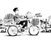 "Signed Print ""Comics Carrier"""