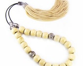 Komboloi Traditional Greek Worry Beads Wood Beads with Silvertone Shield Bead & Tassel