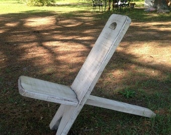 Adirondack Style Camping Chair in distressed white
