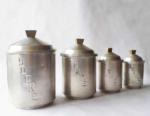 Set Of 4 French Vintage KITCHEN CANISTERS White Metal