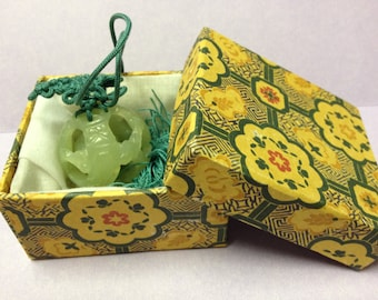 VINTAGE Chinese Jade Pendant on Silk Cord with Tassel AND Box, Green Jade, China, ball in pendant
