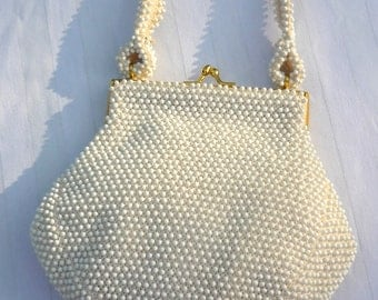 Vintage Beaded Bag Corde Bead Bag Off White Excellent Condition Beautiful 1950s