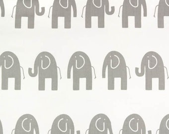 SALE - Ships Same Day Grey Elephant Fabric - Premier Prints Ele White and Storm Grey- fabric by the 3 yards
