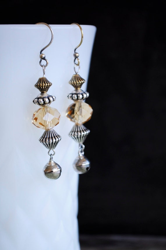 Silver and amber glass pierced earrings in my Etsy shop