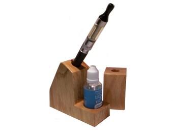 Vapor Stand Set - Solid Oak Ecig Holder