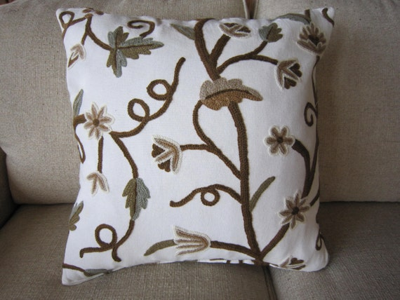 Off white linen decorative pillow cover with crewel flowers