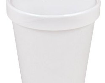 25 White Paper Ice Cream Pint Containers & Lids
