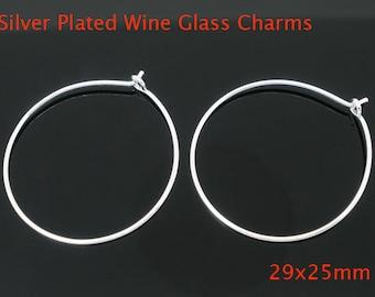 100 Wine Charm Rings / Earring Hoops 29x25mm - Silver Plated wine rings 100 ct