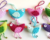 Spring bird decoration - easter decoration - bird ornament - crocheted