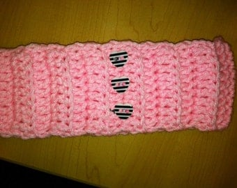 pretty in pink headband with heart buttons