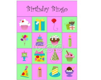 Birthday Bingo, Children Birthday Party Game, Instant Download Bingo Game, Printable Bingo Game, Party Game For Kids