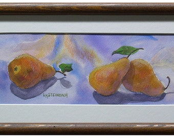 Fruit Art Kitchen Decor -Three Pears - Mixed Media Original in Purples and Golds