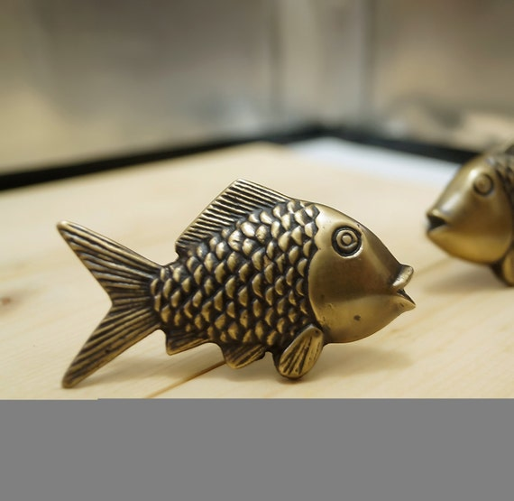 Lot of 2 pairs antique small mouth bass fish cabinet solid for Fish drawer pulls