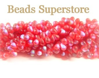 4 mm x 6 mm Siam Ruby Matte AB Czech Glass Droplet Bead - 50 pcs