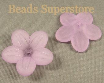 SALE 20 mm x 5 mm Violet Lucite Flower Bead - 10 pcs