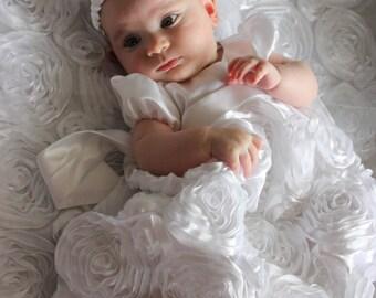 Custom handmade white baby baptism dress