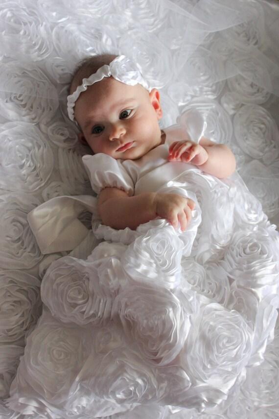 Items similar to Custom handmade white baby baptism dress