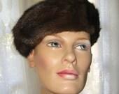 Sexy Dark Brown Mink Beret circa 1940's - RomanysVintage