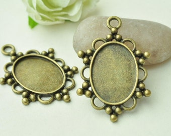 6pcs Antique Bronze Oval Cameo Cabochon Base Settings with Flower Edge Match 25x18mm K381