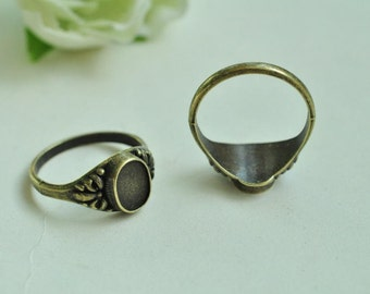 12pcs Antique Bronze Filigree Rings Base Settings with Oval 8x6mm Pad K397
