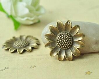 8pcs Antique Bronze Sunflower Charms Flower Charms 25mm MM737